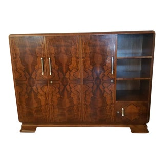 Art Deco Styled Walnut Veneer Display Cabinet For Sale