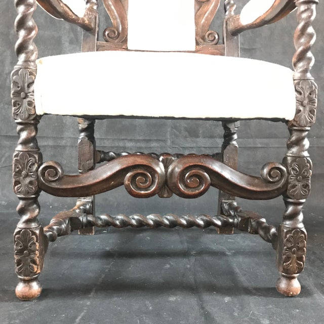 White 18th Century Vintage Carved Oak Jacobean Arm Chair For Sale - Image 8 of 10