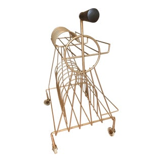 Mid-Century Art Deco Inspired Gold Metal Wire Rolling Record Storage Rack For Sale