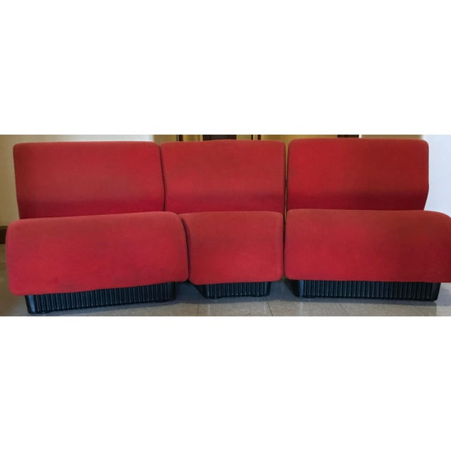 Offered for consideration are three pre-owned Herman Miller Chadwick Modular Seating Sections. The Chadwick seating...