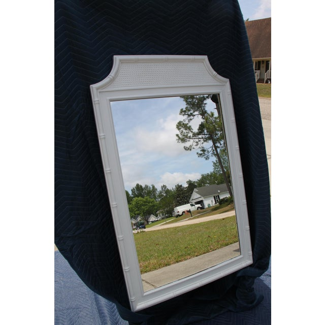 Thomasville Faux Bamboo Style / Hollywood Regency / Glam Gloss White mirror Beautiful detailing Can be used in any area of...