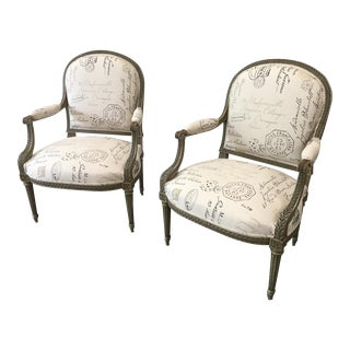 French Antique Painted Armchairs - a Pair For Sale