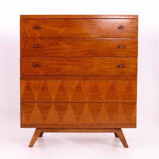 Lane Harlequin Walnut Mid Century 5 Drawer Highboy Dresser Preview