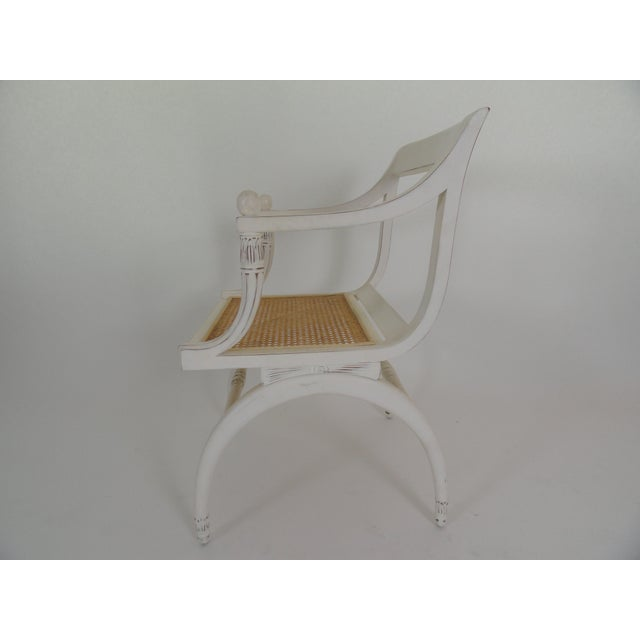 Hollywood Regency 1970s Vintage Regency Style Cane Seat Chair For Sale - Image 3 of 9