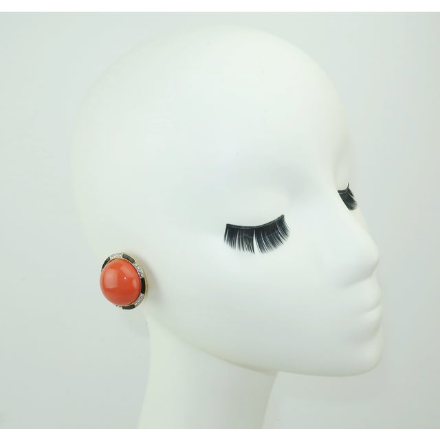 Black Kenneth Jay Lane Art Deco Faux Coral & Rhinestone Earrings For Sale - Image 8 of 9