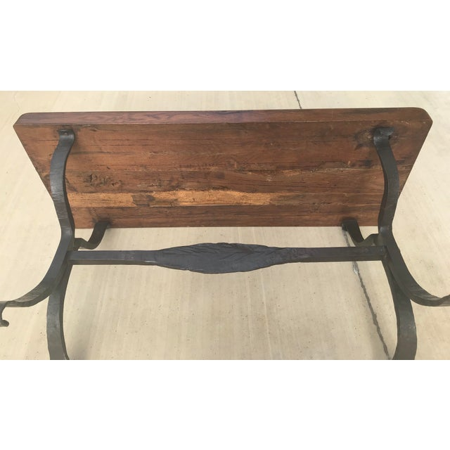 Late 20th Century Rustic French Iron Base Coffee Table For Sale - Image 11 of 12