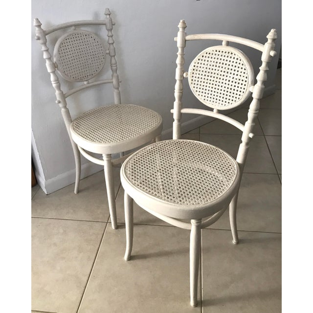 Boho Chic Antique 1913 Fischel Bentwood French Bistro Chairs - a Pair For Sale - Image 3 of 11