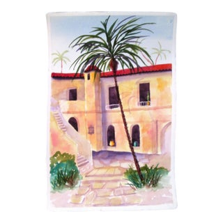Mediterranean Courtyard Watercolor Painting