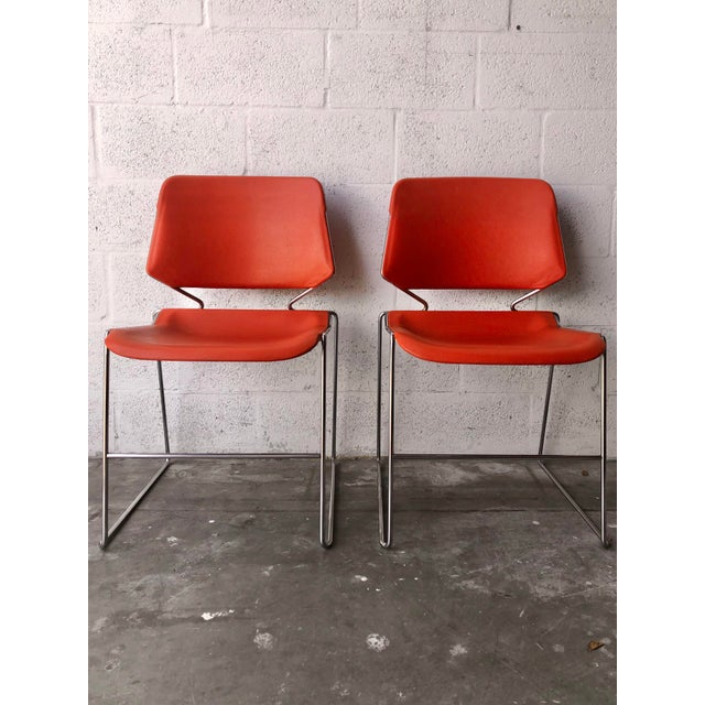 Vintage Mid Century Modern Matrix Krueger Stackable Chairs- Set of Two. For Sale - Image 4 of 13