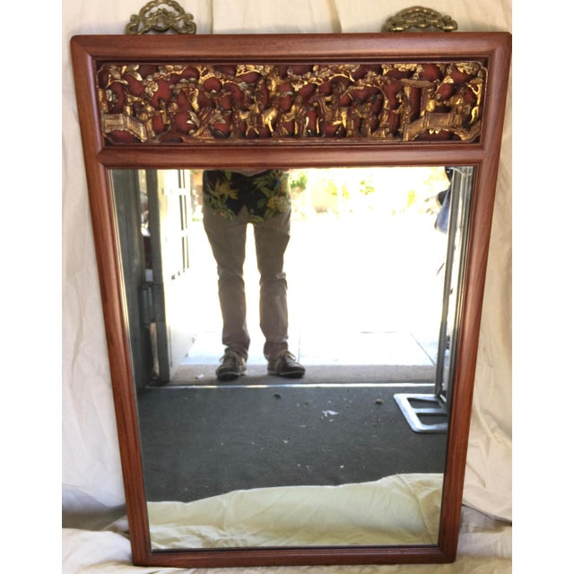 Asian Mirror With Highly Carved Panel For Sale - Image 10 of 10