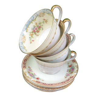 Vintage Mismatched Fine China Cups & Saucers - Set of 4 For Sale