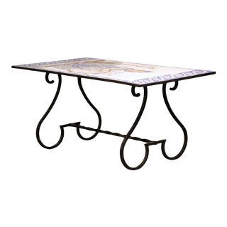 19th Century French Wrought Iron Outdoor Table With Ceramic Mosaic Top For Sale
