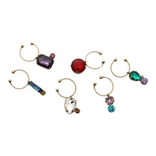 Jeweled Wine Charms, Set of 6 For Sale