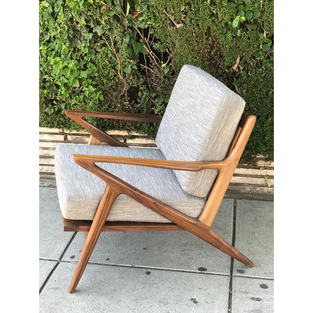 Contemporary Mid Century Modern Lounge Chair and Ottoman- Customizable For Sale - Image 3 of 13