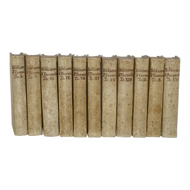 Vintage Traditional Vellum Books - Set of 11 Volumes For Sale
