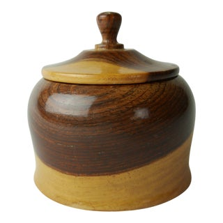 20th Century Traditional Turned Wood Box With Lid For Sale