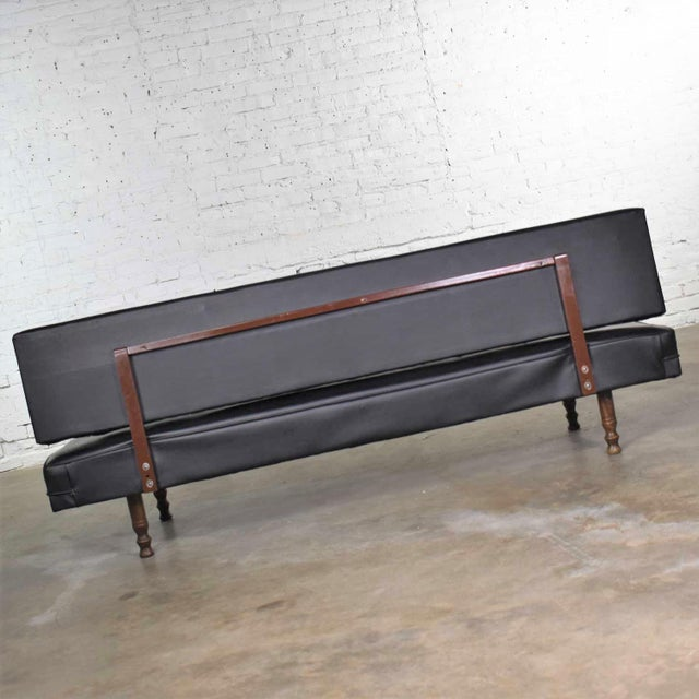 Vintage Mid Century Modern Black Vinyl Faux Leather Convertible Sofa by Universal of High Point For Sale - Image 9 of 13