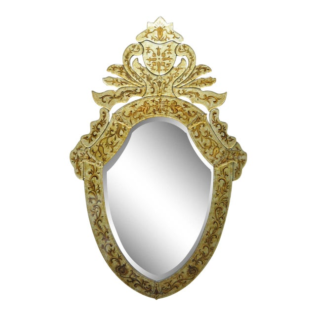 "47"" X 29"" Decorator Contemporary Venetian Style Gold Etched Shield Wall Mirror For Sale"