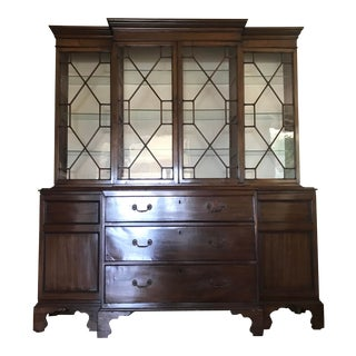 Antique Mahogany Breakfront Bookcase China Display Cabinet For Sale