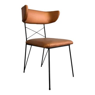 Mid Century Modern Upholstered Wrought Iron Side Chair For Sale