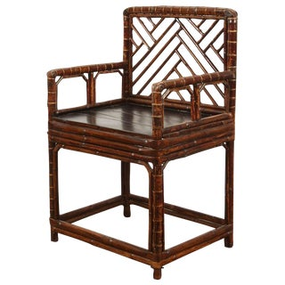 19th Century Chinese Bamboo Arm Chair For Sale
