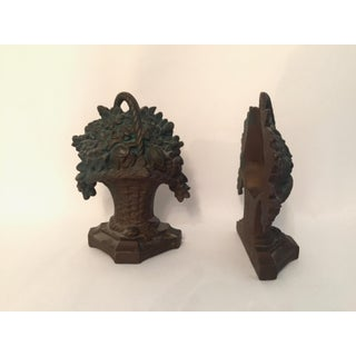 Vintage Cast Iron Flower Basket Bookends - a Pair Preview