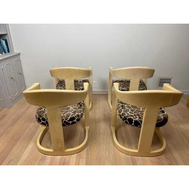 Art Deco Vintage Karl Springer Onassis Goatskin Chairs - Set of 4 For Sale - Image 3 of 11