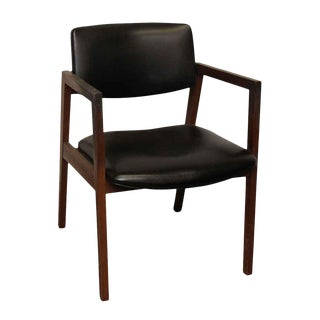 United Mid-Century Wood Black Vinyl Chair For Sale
