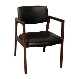 United Mid-Century Wood Black Vinyl Chair