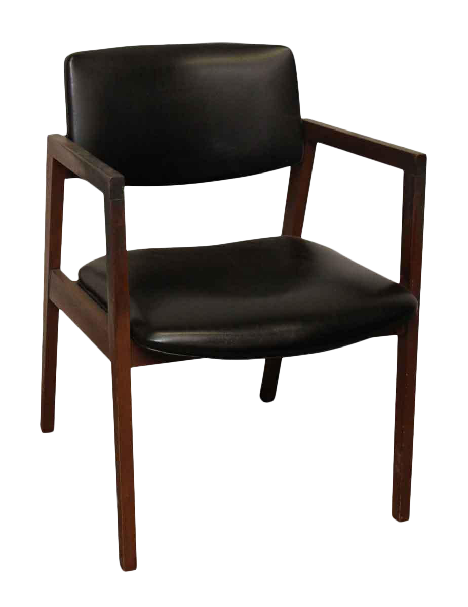 Awesome United Mid Century Wood Black Vinyl Chair