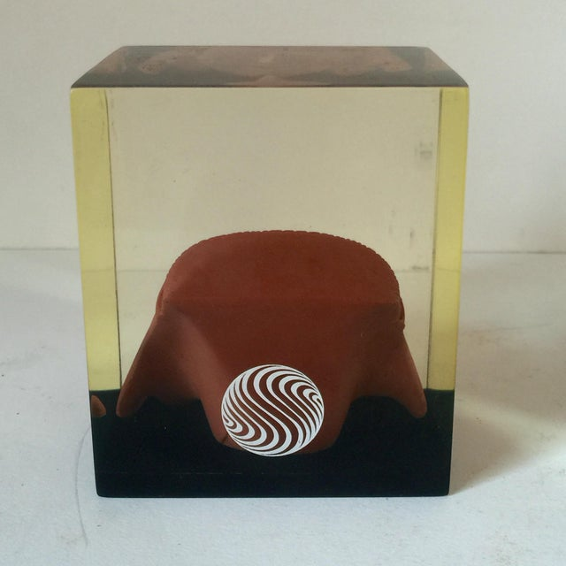 Lucite Paperweight with Aztec Mask - Image 7 of 8