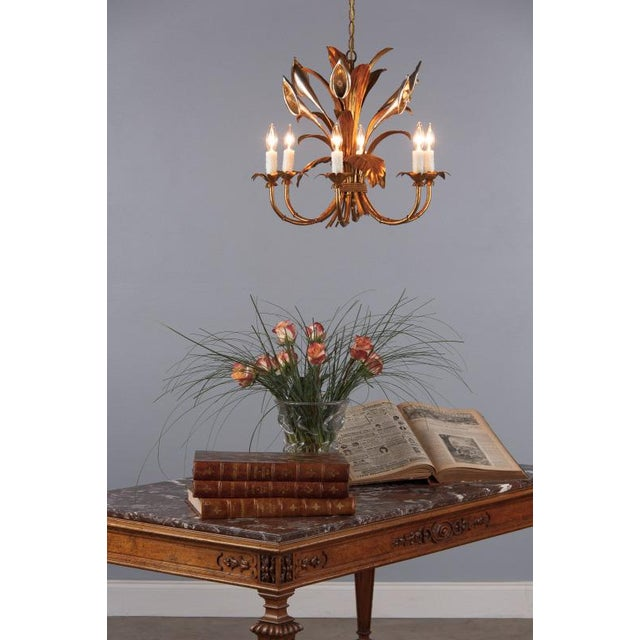 A very decorative gilded metal chandelier with an antique finish. The fixture has six arms newly rewired for candelabra...