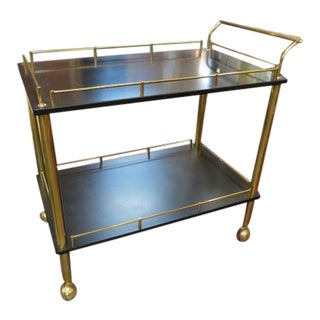 1960s Vintage Mid Century Modern Brass and Black Laminate Bar Cart For Sale