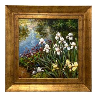 20th Century Large Original Oil Impasto Painting on Canvas - Bearded Irises - Signed R Stevens For Sale