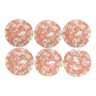 1985 Frances Accent Salmon Color Bread & Butter Plates by Wedgwood - Set of 6 For Sale
