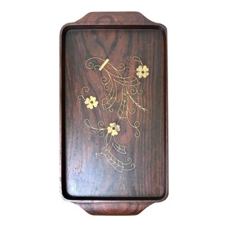 1960s Rosewood Wood Serving Tray With Brass Floral Inlay For Sale