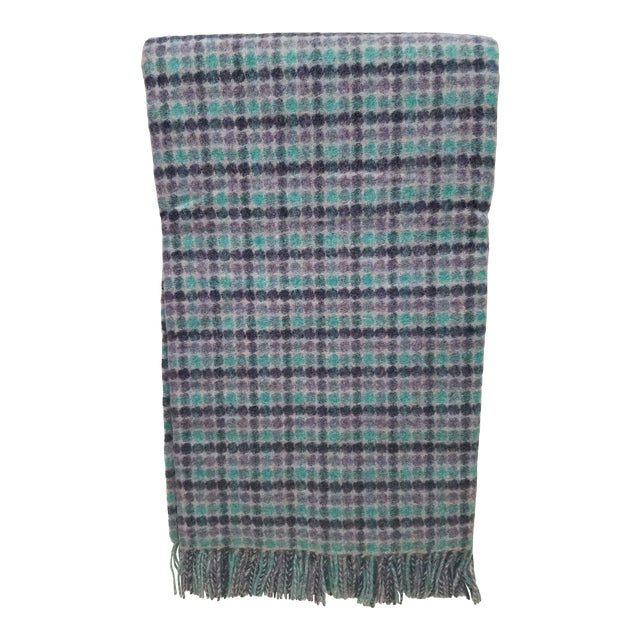 Merino Wool Throw Green Purple and Black Dots Square- Made in England For Sale