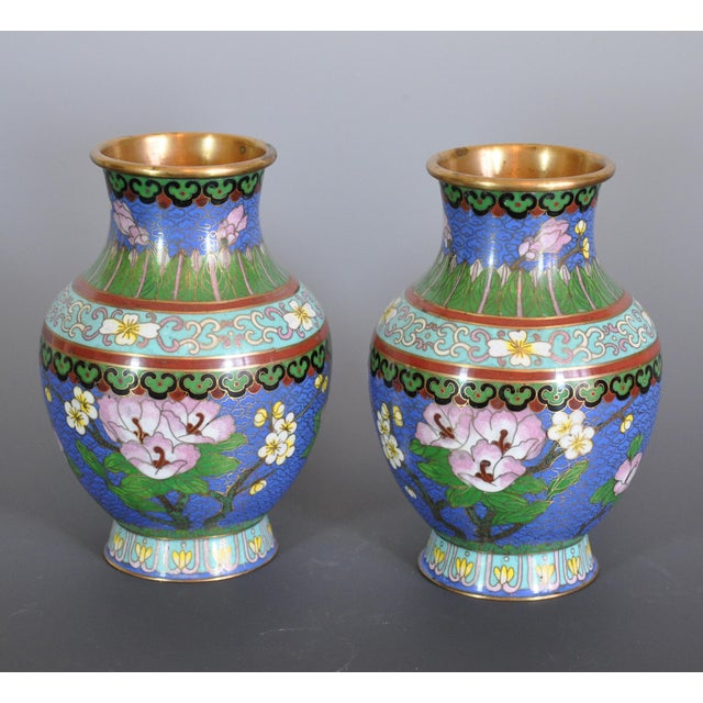 Asian Vintage Chinese Cloissone Vases - A Pair For Sale - Image 3 of 7