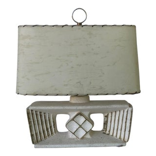 Vintage Mid-Century Modern Plaster Relief Lamp For Sale