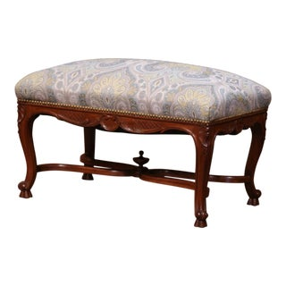 19th Century French Louis XV Carved Walnut Bench With Stretcher and New Fabric For Sale