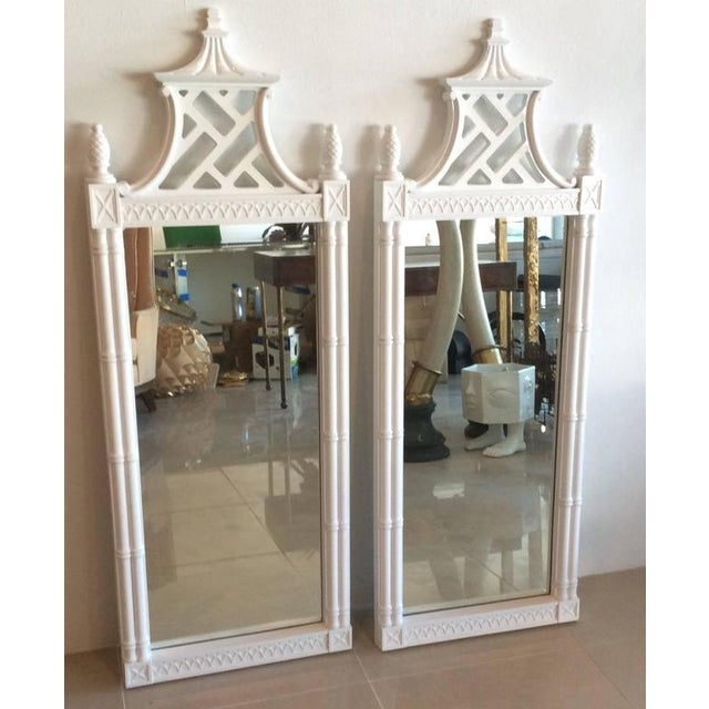 Vintage Chinese Chippendale Pagoda Faux Bamboo Wall Mirrors - A Pair - Image 2 of 11
