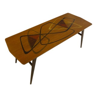 Fabry Mid Century Marquetry Cocktail Table For Sale