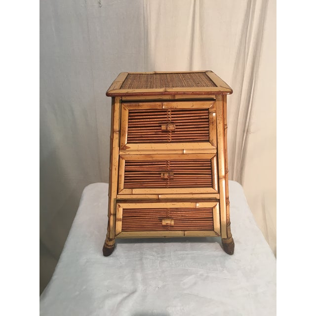 Wood Vintage Rattan and Bamboo Nightstand For Sale - Image 7 of 7