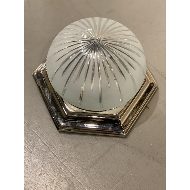 1940s Nickel Plated Light Fixture For Sale - Image 4 of 6