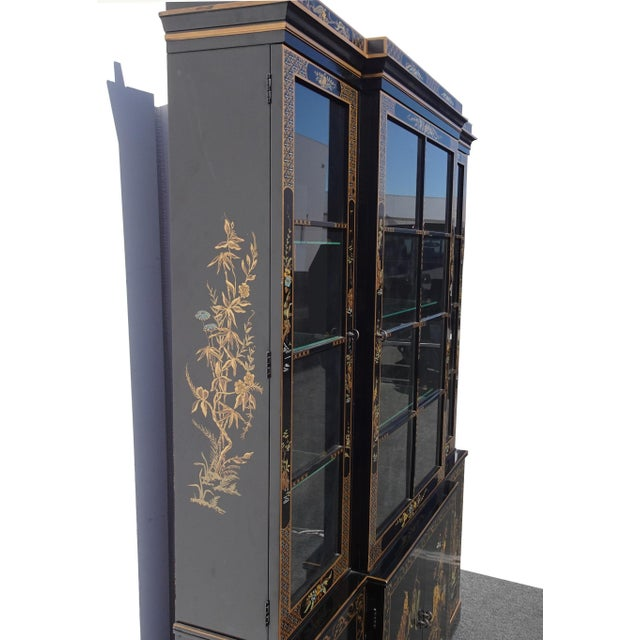 Vintage Drexel Oriental Asian Chippendale Chinoiserie Black China Cabinet Hutch For Sale - Image 12 of 13