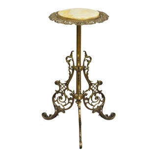 Antique Victorian Figural Cherubs Brass Bronze Marble Pedestal Plant Stand Table