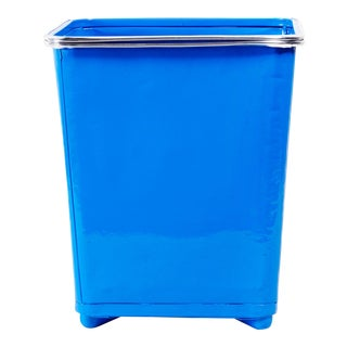 Machine Age Steel Trash Can With Aluminum Trim, Refinished in Blue For Sale