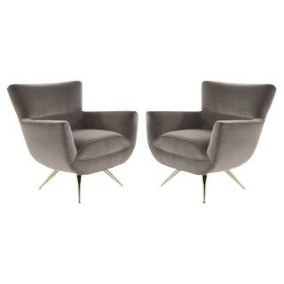 Mid-Century Modern Swivel Chairs by Henry Glass in Grey Velvet For Sale
