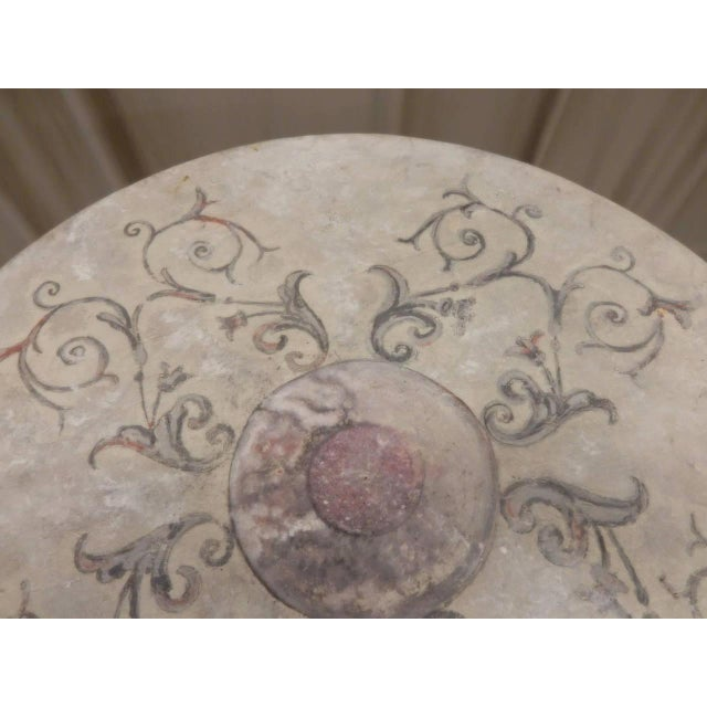 Italian Provincial Faux Marble Top Table on Iron Base For Sale - Image 4 of 9