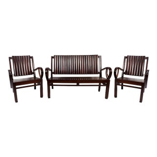 Art Deco Rosewood Living Room Set- 3 Pieces For Sale